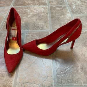 Marc Fisher red suede high heel pump size 9